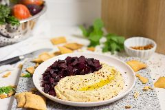 Beet and Pomegranate topped Hummus