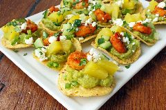 Pineapple Shrimp and Guacamole Mini Tostadas