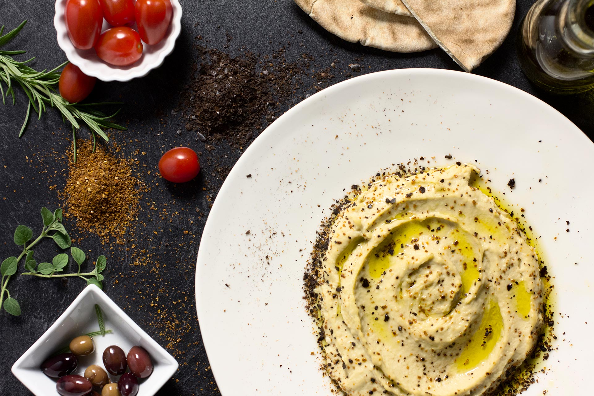 Mediterranean Pepper Topped Hummus