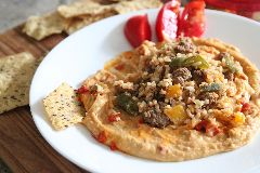 Stuffed Pepper Topped Hummus