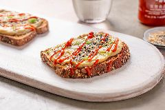Sriracha and Everything Hummus Toast